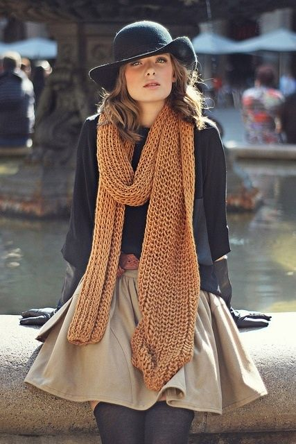 Brown Knit Scarves For Winter Fashion