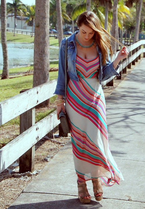 Denim Jacket with Long Maxi Dress » Celebrity Fashion, Outfit ...