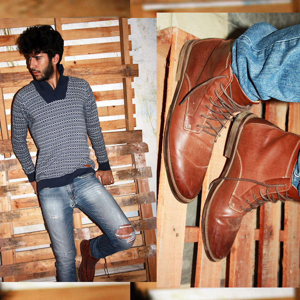 Khalil Zdaa Sweater and boots for men fashion