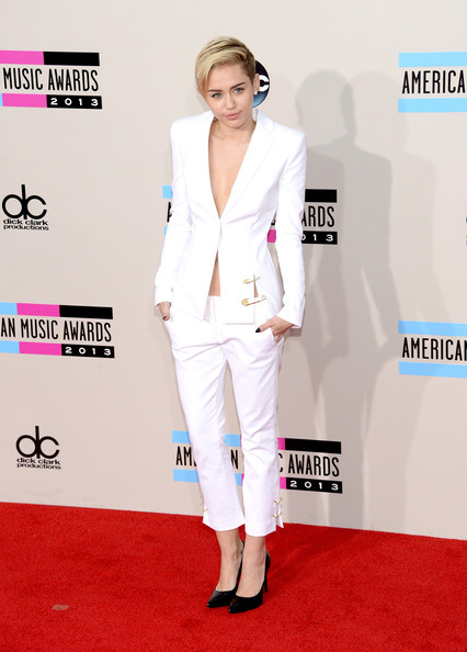 Miley Cyrus White Sexy Pantsuit