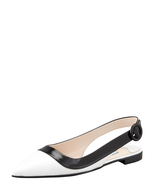 Prada Bi-Color Pointed-Toe Slingback Flat