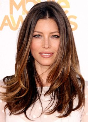 Soft ombre on Jessica Biel