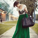Go Casual with maxi green skirt
