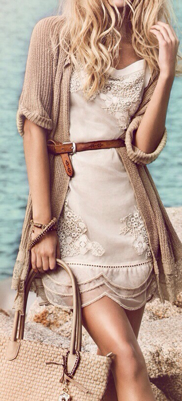 dress with a cardigan sweater