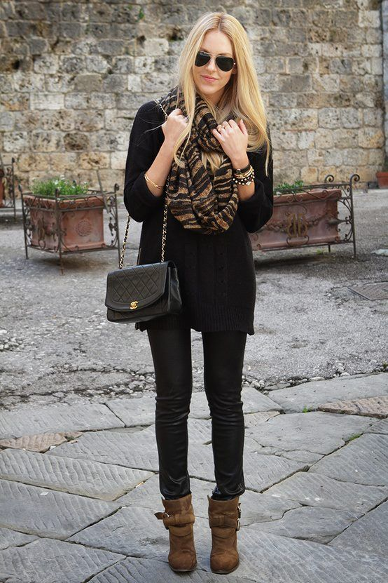 Animal printed scarf outfit