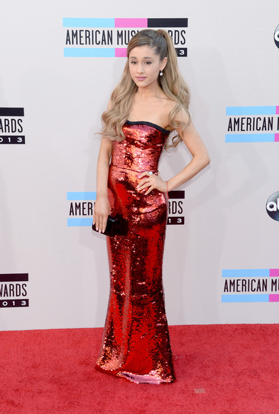 Ariana Grande Strapless Red Dress