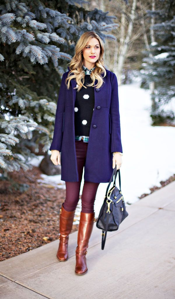 Blue Coat Dress Outfit