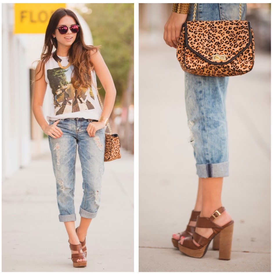 Casual Outfit With Leopard Handbags