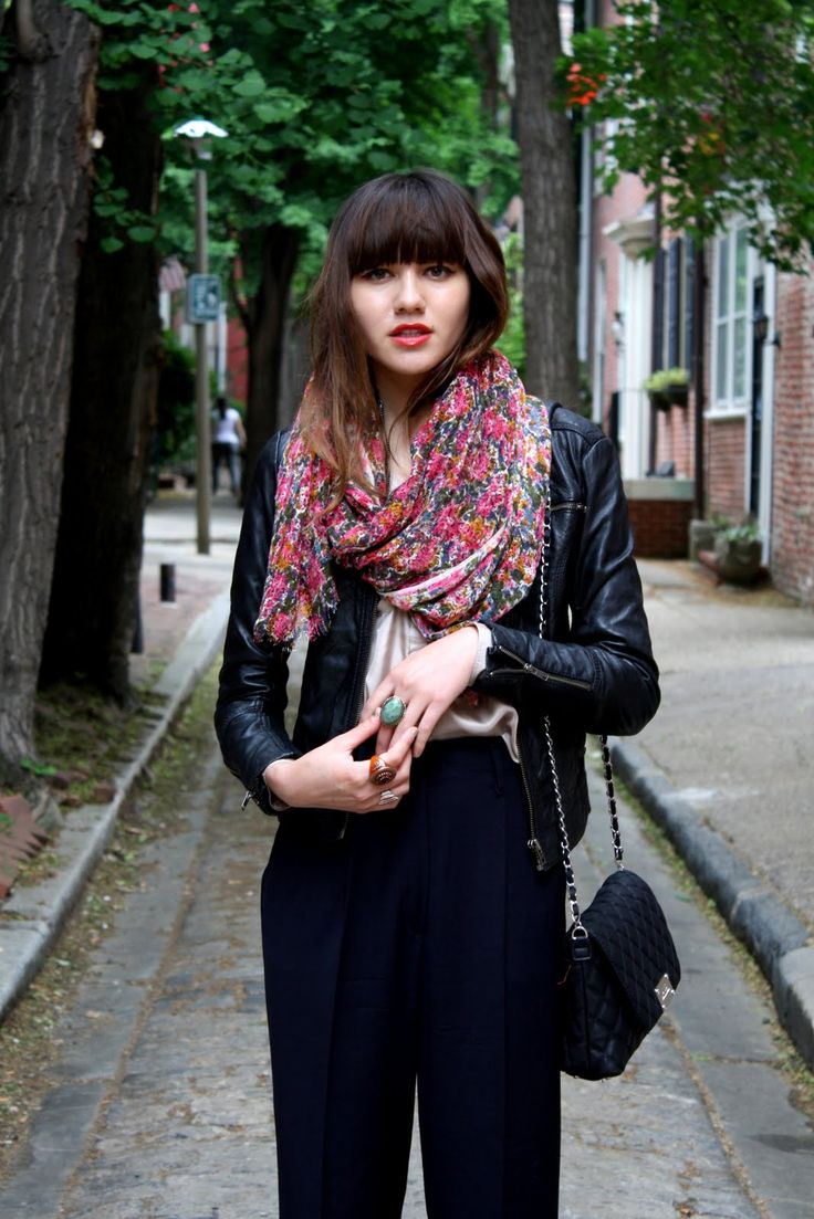 Floral scarf with outfit