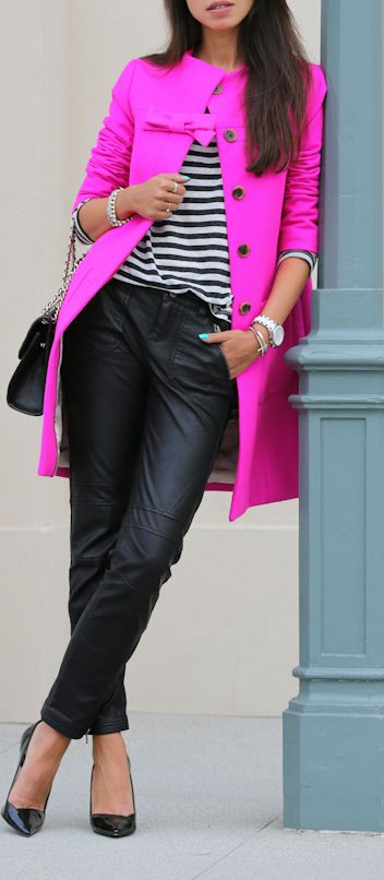Fuchsia JCrew Bow Coat