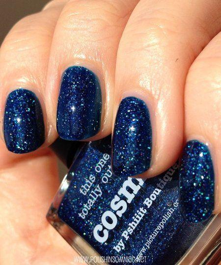 Glitter Blue nail arts