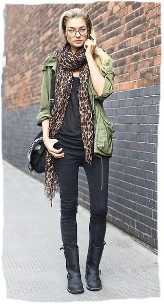 Leopard printed scarf outfit