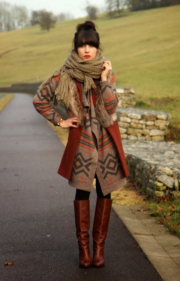 Long Cozy Cardigan With Brown Scarf and Long Boots