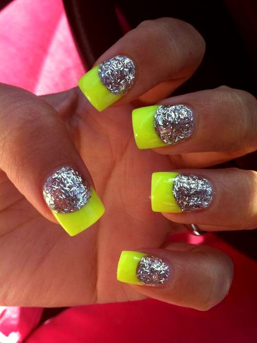 Neon and glitter nails art