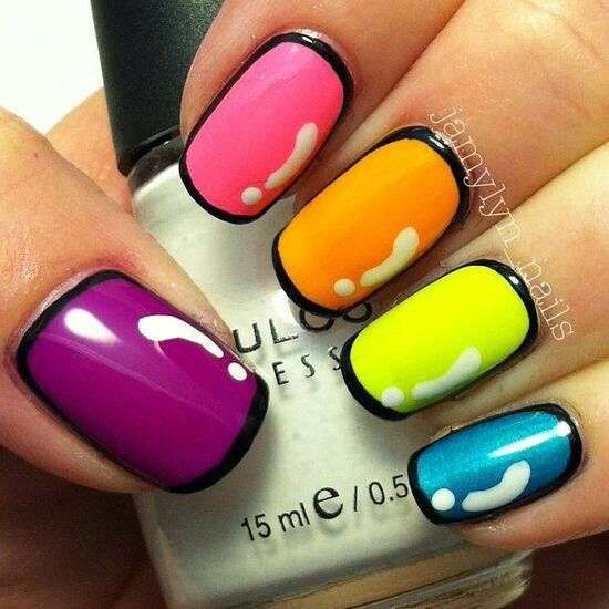 Neon nails art idea