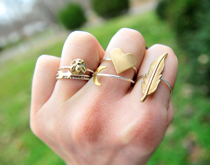Stackable Brass Heart & Silver Ring