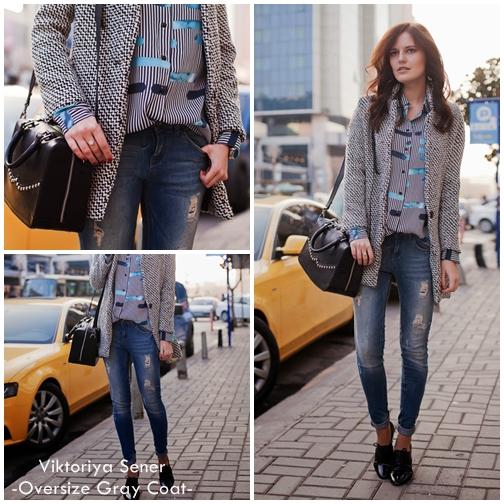 Viktoriya Sener Oversize Gray Coat