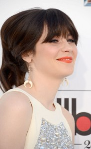 Zooey Deschanel Bobby Pinned updo