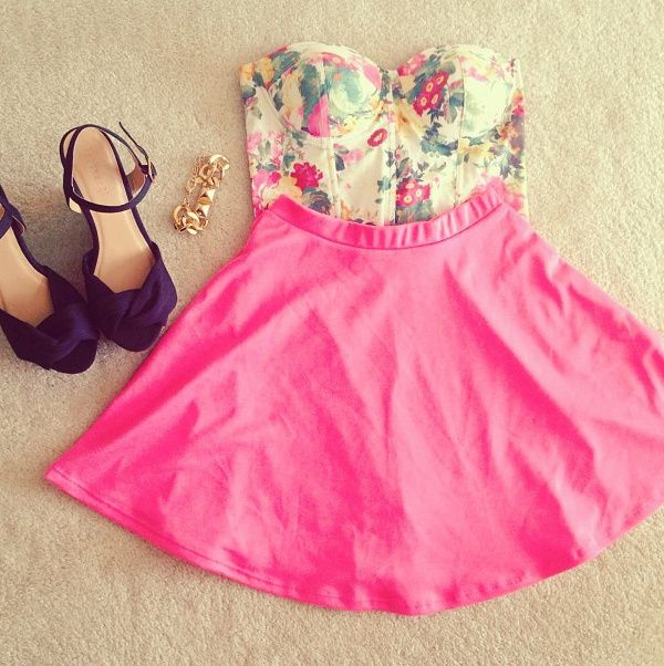 Floral Top With Pink Skirt