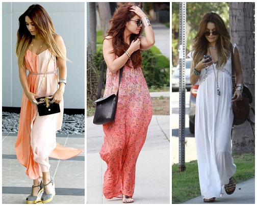 Long Boho Dress Vanessa Hudgens Street Style