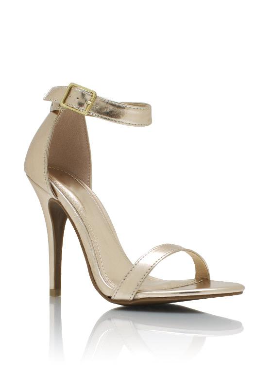 Metallic Ankle Strap Heels