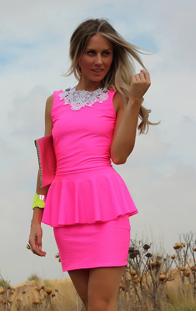 Neon Pink Peplum Dress