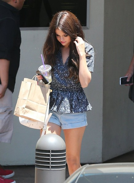 Selena Gomez Street Style With peplum top