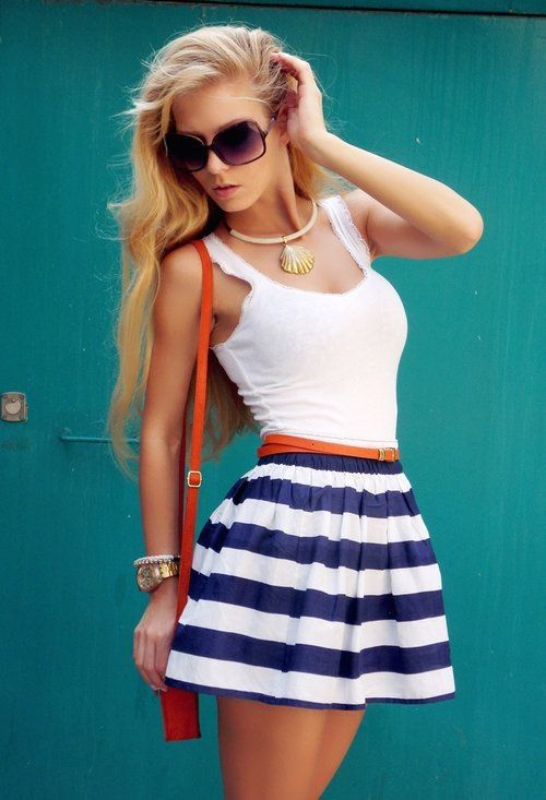 Striped summer mini skirt