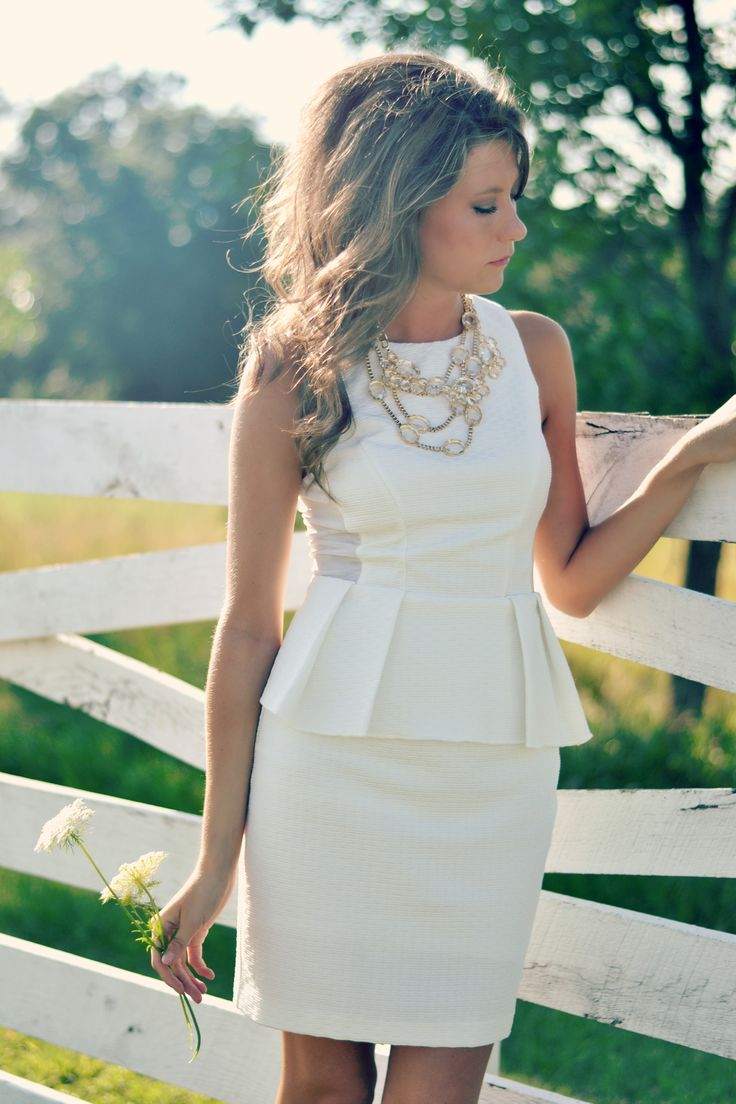 White Peplum dress + statement necklace