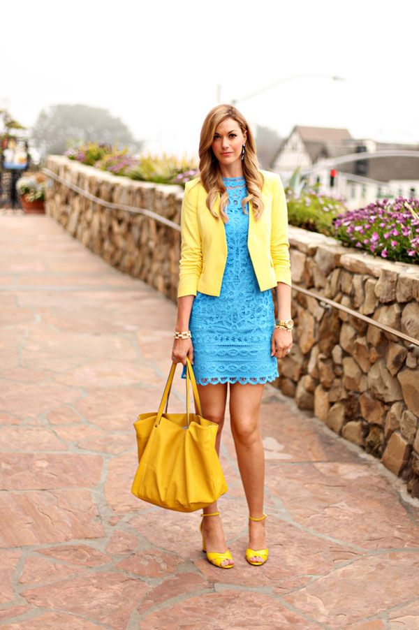 Yellow Blazer And Blue Dress