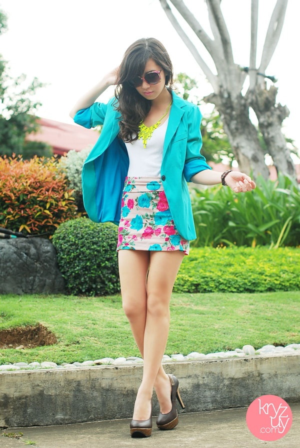 bright skirt + blazer