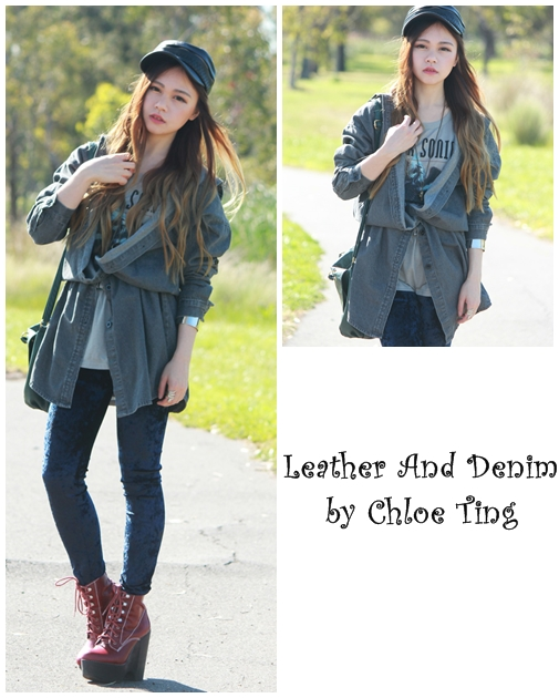 Chloe Ting  Leather And Denim
