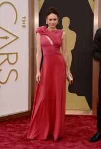 Olga Kurylenko in Red Carpet Green Dress