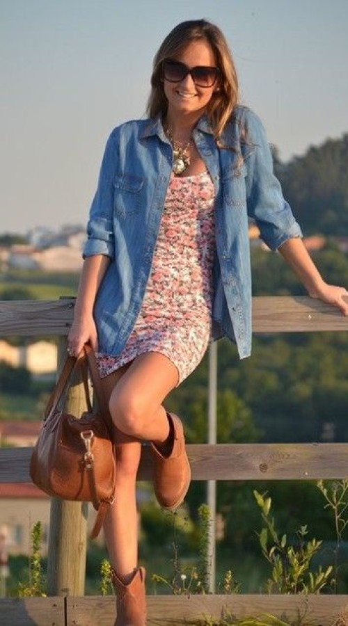 Denim shirt to complete floral dress
