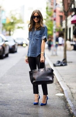 Not sure about heals but love the color splash,the button down denim and comfy pants. Huge purse makes me feel skinny.