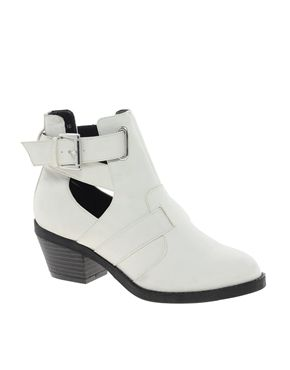 White Cut Out Heeled Boots