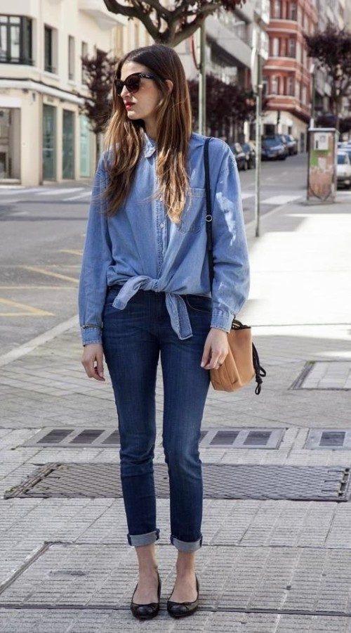 Cute outfit with denim shirt
