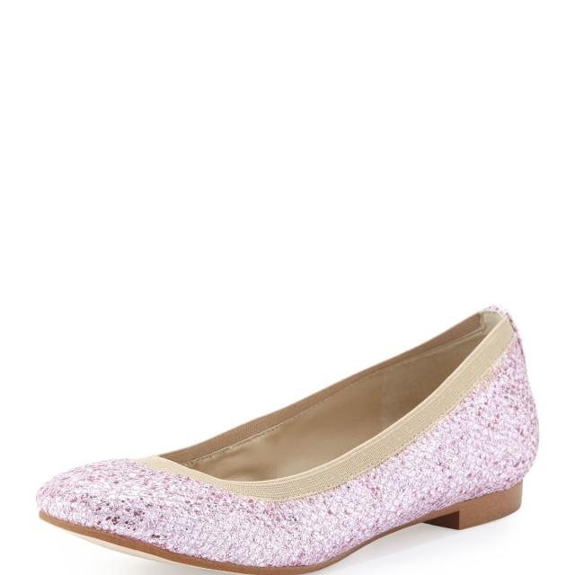 Andrew Stevens Amira Glitter Flat Shoe, Pink