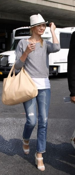 Cameron Diaz wearing  Christian Louboutin Panier 120 Espadrille Wedge Sandals