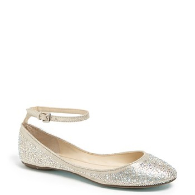 'Joy' Ankle Strap Crystal Embellished Flat