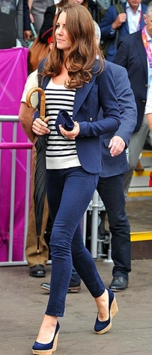 Kate Middleton's Olympic uniform Smythe blazer, J Brand jeans, Stuart Weitzman wedges