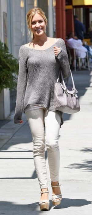 Kristin Cavallari Grey Sweater With Wedges
