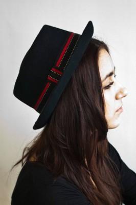 Black pork-pie hat
