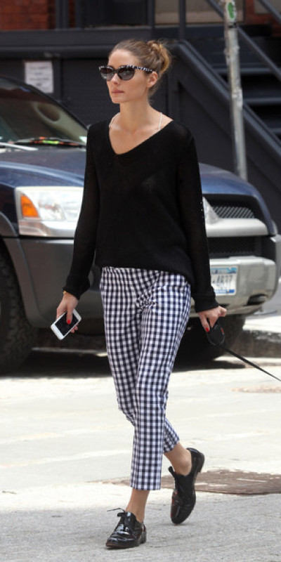 Olivia Palermo V-neck Sweater and Print Pants