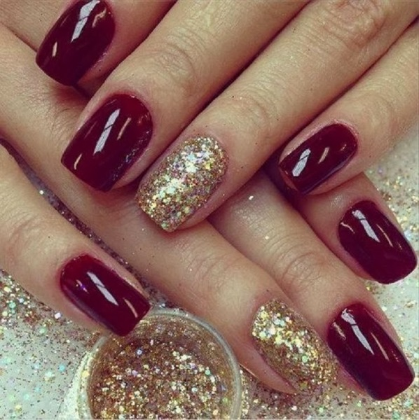 Burgundy and Gold Nail Art Design Ideas