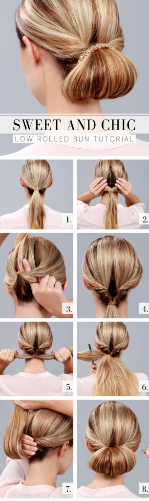 Sweet and chic rolled bun