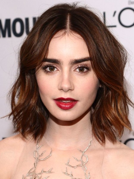Lily Collins Middle Part Hair