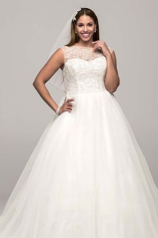 Cap Sleeve Tulle Ball Gown with Illusion Neckline, David's Bridal
