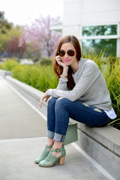 M Loves M gets (minty) fresh with us with some cool accessories, bright pink lips, and James Jeans Neo Beau in Genevieve. Click to steal her style!