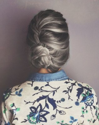 Pulled Back Gray hairstyle